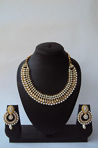 Ethnic Designer Indian Bollywood Fashion Pearl Kundan Jewelry Necklace Set