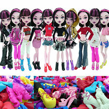 5 Outfits Ouitft Coat Clothes & High Heels Shoes For Monster High Doll Randomly