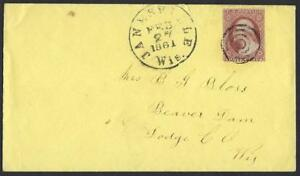 US 1861 CIVIL WAR COVER JANESVILLE WISCONSIN NEAR MADISON WITH FANCY CANCEL TO