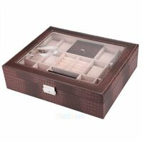 12 Slot Leather Watch Box Case Organizer Glass Ring Jewelry Storage Brown USA
