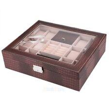 12 Slot Leather Watch Box Case Organizer Glass Ring Jewelry Storage Brown USA