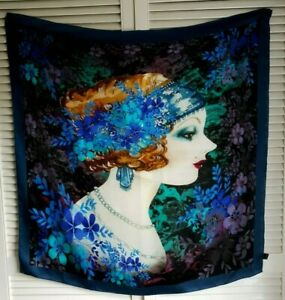 Navy Blue Floral Flapper Girl Large Silk Scarf 90cm Square Hand Rolled Hems
