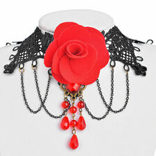 Pendant Red Rose and Jewels Black Lace Choker Necklace with