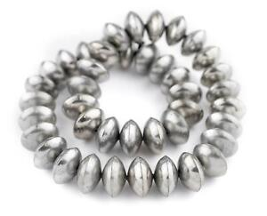 Ethiopian Silver Saucer Beads 24mm African White Metal 24 Inch Strand Handmade