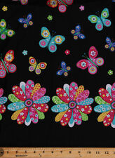 Pre-Smocked Shirred Sundress Fabric Butterflies Butterfly Flowers Floral A415.10
