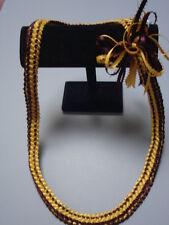 Hawaiian Double Braid Ribbon Leis Luau brown yellow