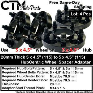 4PC 20mm THICK 5X4.5'' 70.5 HUBCENTRIC WHEEL SPACER ADAPTER FIT MUSTANG & MORE