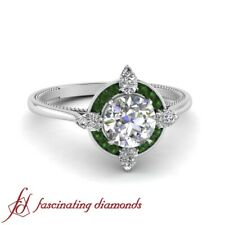 One Carat Round Cut Diamond & Emerald Gemstone Plain Shank Halo Engagement Ring