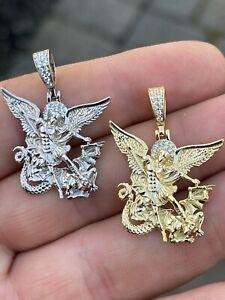 Real 925 Silver Saint Michael Archangel Necklace Pendant Necklace Gold Hip Hop