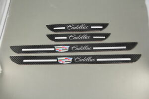 4 in Set For Cadillac JDM Carbon Fiber Car Door Welcome Sill Scuff Cover Sticker