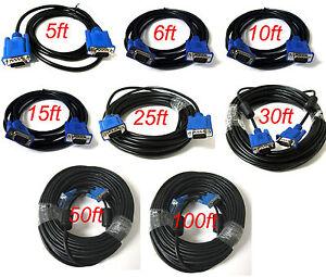 SVGA SUPER VGA Monitor 15PIN M/M Male To Male Cable CORD FOR PC TV HDTV Blue Us