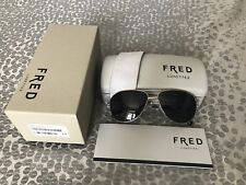 NEW Fred Lunettes 8464 F10 Aviator Gold Silver Unisex Sunglasses