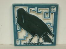 """1927 Rookwood Square Rook Footed Trivet Tile In Blue And White, 5 1/2"""" Square."""