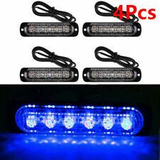 4X 6 LED Car Blue Emergency Strobe Amber Flashing Beacon Breakdown 12/24V Light