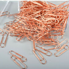200pcs Rose Gold Paper Clips Metal Bookmarks Stationery Office Supplies
