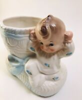 Rubens Japan Ceramic Blue Baby Boy on Bootie Vintage Planter #299. Cute!