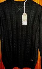NEW Mens Medium Lee Cooper Long Sleeves Cable Knit Sweater Knitwear in Black