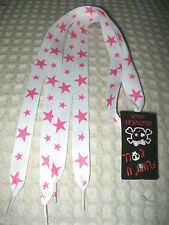 Premium Thick White with Pink Stars Rockabilly Punk Shoe lace Shoelaces-New!