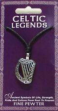 Étain harpe celtique tour de cou sur cordon réglable noir (made in ireland)
