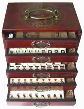 144 Mah-Jong Set with Case Box Portable Retro Mahjong Box