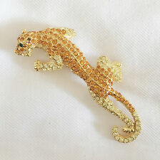New Golden Good Fortune Leopard Panthera African Crystal Brooch Pin BR1151A