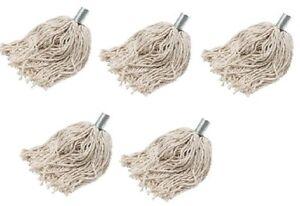 5 x Heavy Duty Cotton Mop Head Refill  Metal Socket Wet Floor Mop Head easy Fit