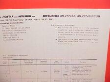 1978 MITSUBISHI AM-FM RADIO SERVICE MANUAL MODELS AR-2774SE & AR-2774SU 2774SUB