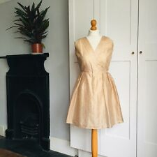 Vintage 70s Rose Gold Sparkly Stripe Glam Mini Party Dress 8 10