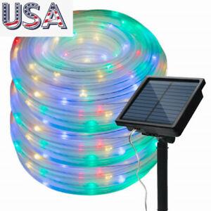 Outdoor Garden LED Fairy Night Lights Solar Powered String Rope Lamp Waterproof