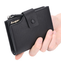 Men's PU Leather Bifold Wallet Coin Purse ID Credit Card Holder Short Money Clip