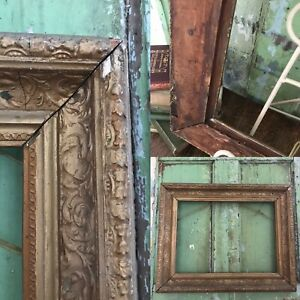 "REALLY VERY OLD Picture Frame Wood Stucco GILT GOLD fits a 15 "" X 11 "" Painting"