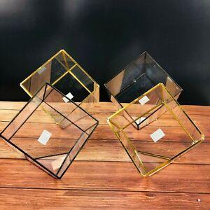 Handmade Square Irregular Glass Vase Pot Geometric Terrarium Moss Basin Bonsai