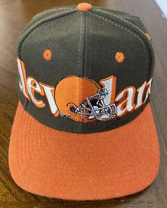 VINTAGE 1990s Cleveland Browns Logo 7 SnapBack Hat Cap NFL