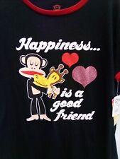 NWT Paul Frank Happiness Is A Good Friend XL Black T-Shirt     B22