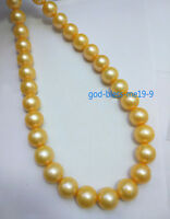 "18"" AAA 10-11MM golden SOUTH SEA NATURAL PEARL NECKLACE 14K YELLOW GOLD CLASP"