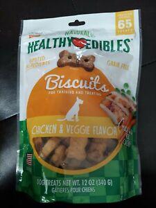 Nylabone HEALTHY EDIBLES Dog Treats BISCUIT Chicken Veggie no grain 12 fre ship