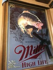 Miller High Life Large Mouth Bass Mirror Beer Wisconsin Sportsman Fish Sign