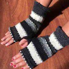 Hand Knitted Woollen Gloves Nepalese Fleece Lined Fingerless Warm Wrist Mittens