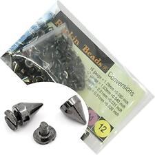 Rockin Beads 48 Sets Black Gunmetal Cone Screw/Spike Rivet Studs 10x7mm NEW