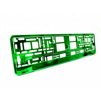 2 x Green Metallic Universal ABS Number Plate Surrounds Holders Frames M