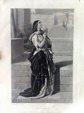 SUSANNA  incisione originale XIX secolo  donna in preghiera H.  Bourne