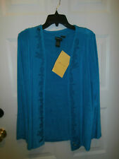 New Nwt Citiknits Slinky Twin-Set Jacket Tank Top Embroidered Teal Small Travel