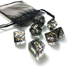 7Pcs Poly Nebula Black Polyhedral Dice Set W/Bag For Dungeons and Dragons Games