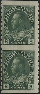 Canada 1924 #128a 2c green coil imperf vertical pair MH gum disturbance