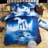 3D Horse Duvet Cover Set Cotton Quilt Cover + Pillowcase Bedding Twin Queen Size