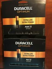 New Duracell Optimum Alkaline Batteries 1 pack AA 12 and 1 Pack AAA 12 total 24