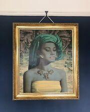 Vintage Balinese Girl Vladimir Tretchikoff 1950s 60s Print Gilt Frame Fantastic!