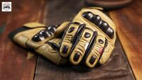 Vintage Cafe Racer Leather Glove (Vintage Yellow + Brown) Size XL