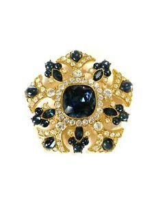 Vtg! Joan Rivers Blue Faux Sapphire & Rhinestone Brooch 24-j197