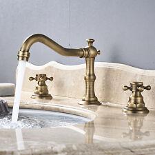 Widespread Bathroom Basin Sink Faucet Swivel Spout Dual Handle 3pcs Mixer Tap